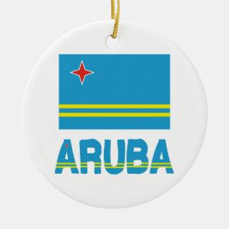 Aruba Flag and Word Ceramic Ornament