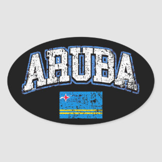 Aruba Flag Oval Sticker