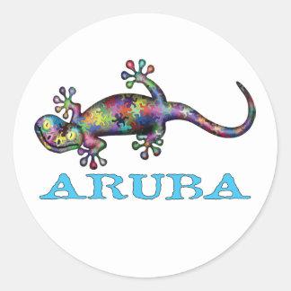 Aruba gecko classic round sticker