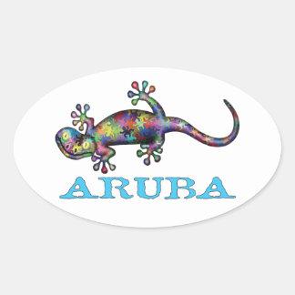 Aruba gecko oval sticker