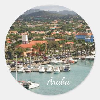 Aruba Marina Classic Round Sticker