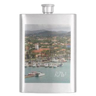 Aruba Marina Monogrammed Flask