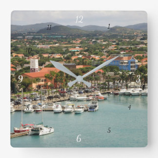 Aruba Marina Square Wall Clock