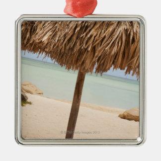 Aruba, palapa on beach metal ornament