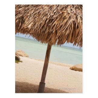 Aruba, palapa on beach postcard