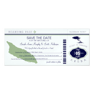 ARUBA Save the Date Boarding Pass Card