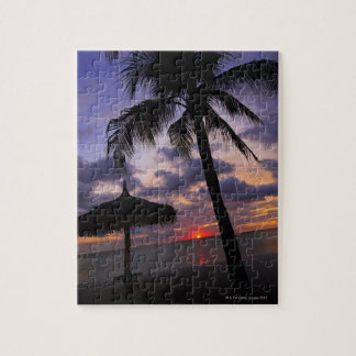 Aruba, silhouette of palm tree and palapa on jigsaw puzzle