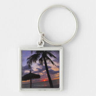 Aruba, silhouette of palm tree and palapa on Silver-Colored square key ring