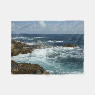 Aruba's Rocky Coast and Blue Ocean Fleece Blanket