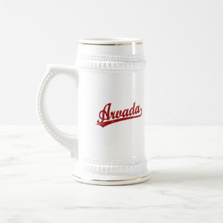 Arvada script logo in red coffee mugs