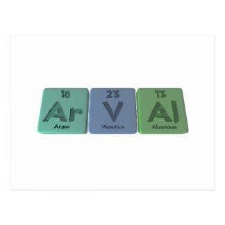Arval-Ar-V-Al-Argon-Vanadium-Aluminium Post Card