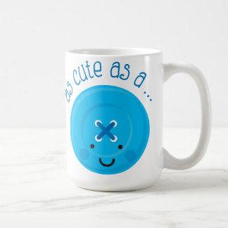As Cute As A Button Blue Coffee Mugs