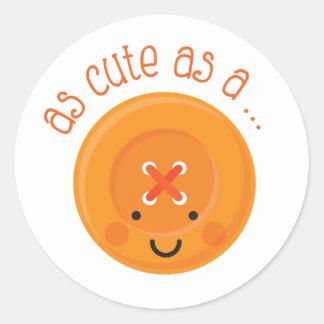 As Cute As A Button Orange Round Sticker