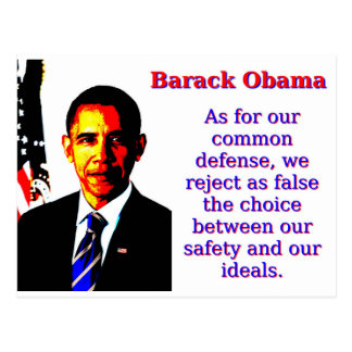 As For Our Common Defense - Barack Obama Postcard