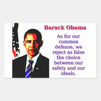 As For Our Common Defense - Barack Obama Rectangular Sticker
