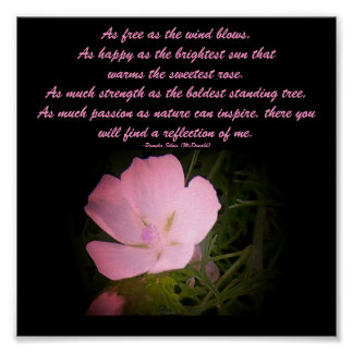 As free as the wind blows,...Floral/Poem Poster
