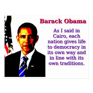 As I Said In Cairo - Barack Obama Postcard