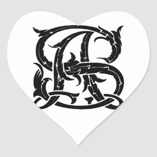 AS-SA Monogram Heart Sticker