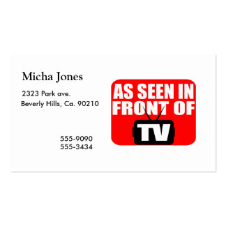 As Seen In Front Of TV Pack Of Standard Business Cards