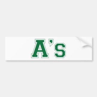A's square logo in green bumper sticker