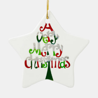 As very Merry Christmas Greetings Ceramic Star Decoration