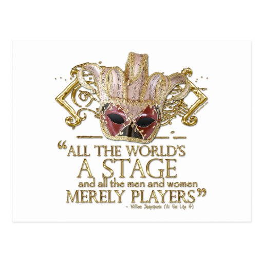 As You Like It Stage Quote (Gold Version) Post Cards