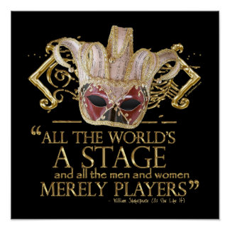 As You Like It Stage Quote (Gold Version) Poster