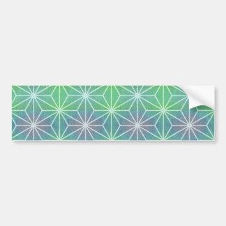 Asanoha Green Purple Bumper Sticker