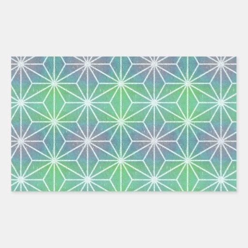 Asanoha Green Purple Rectangular Stickers