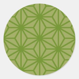 Asanoha GreenGreen Round Sticker