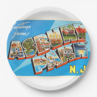 Asbury Park New Jersey NJ Vintage Travel Postcard- 9 Inch Paper Plate