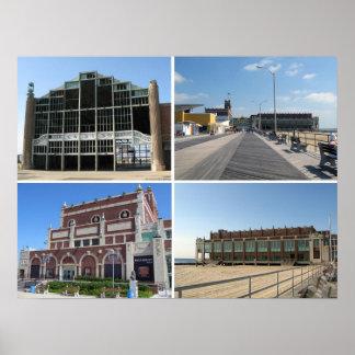 Asbury Park NJ landmarks and boardwalk Poster