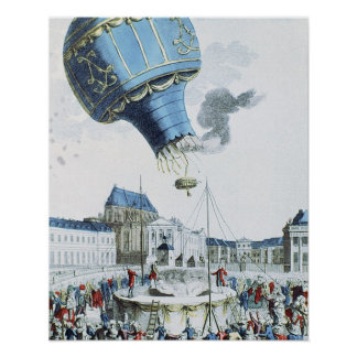Ascent of the Montgolfier brothers hot-air balloon Poster