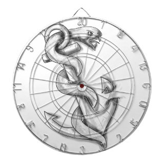 Asclepius Snake Curling Up on Anchor Tattoo Dartboard