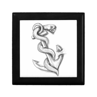Asclepius Snake Curling Up on Anchor Tattoo Gift Box