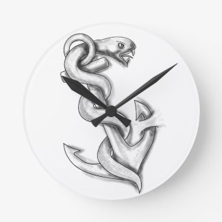 Asclepius Snake Curling Up on Anchor Tattoo Round Clock