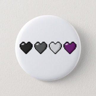 Asexual Pixel Hearts 6 Cm Round Badge