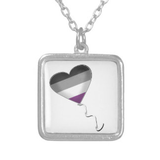 Asexual Pride Heart Balloon Silver Plated Necklace