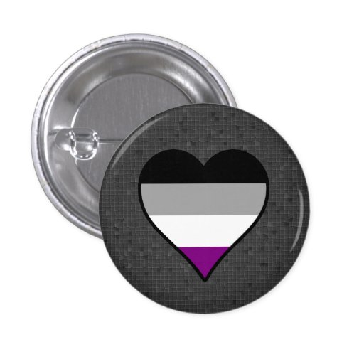 Asexual pride hearts button pins