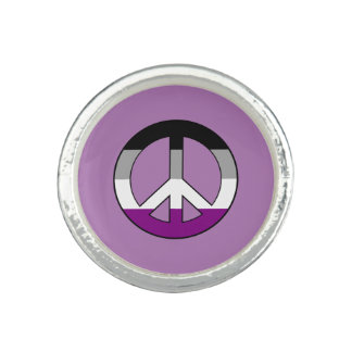 Asexuality pride peace symbol ring