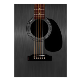 Ash Black Acoustic Guitar Poster