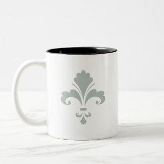 Ash Gray Fleur de lis Two-Tone Mug