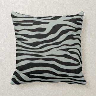 Ash Gray; Grey and Black Zebra Animal Print Cushion