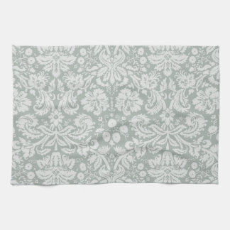 Ash Gray; Grey Damask Pattern Tea Towel
