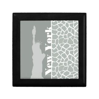 Ash Gray Grey Giraffe Animal Print New York Trinket Box