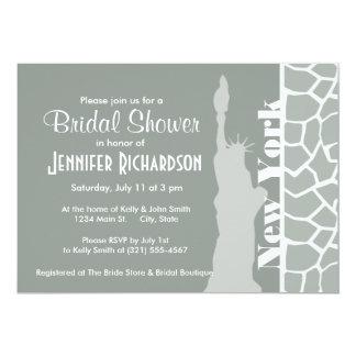 Ash Gray; Grey Giraffe Animal Print; New York 13 Cm X 18 Cm Invitation Card