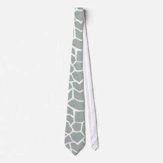 Ash Gray; Grey Giraffe Animal Print Tie