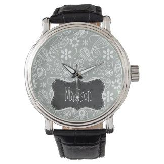 Ash Gray; Grey Paisley; Retro Chalkboard look Watch
