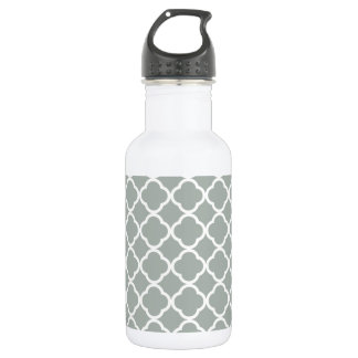 Ash Gray; Grey Quatrefoil 532 Ml Water Bottle