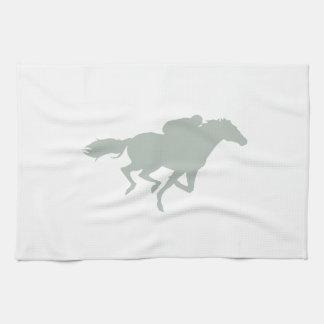 Ash Gray Horse Racing Tea Towel